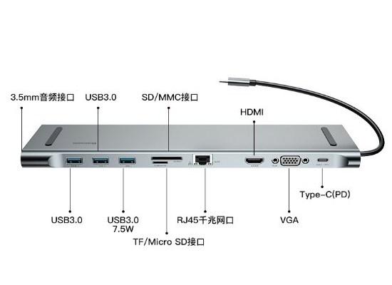 倍思速享Type-C笔记本音视频HUB扩展坞 支持多系统良心之作